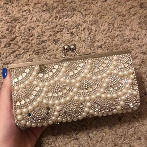 Pearl Clutch Bag With Strap